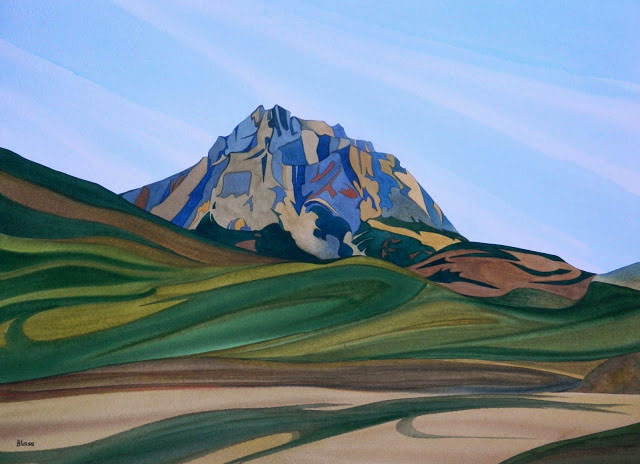 Foothills Castle, watercolour on paper, 21 x 29 in, 53 x 74 cm, $1450. One of the first spires on the road to the Rockies..jpg