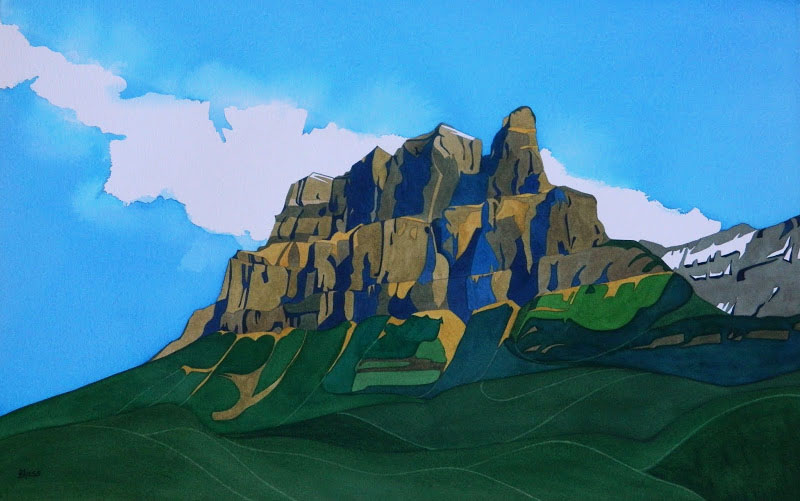 """Castle Mountain"", watercolour on paper, 15x29"", $2600."