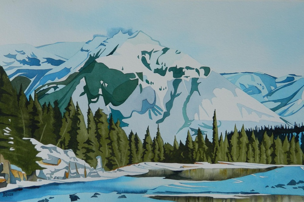"""Bow Falls Sentinel"", watercolour on paper, 14 x 21 in, 36 x 53 cm, $1000. SOLD"