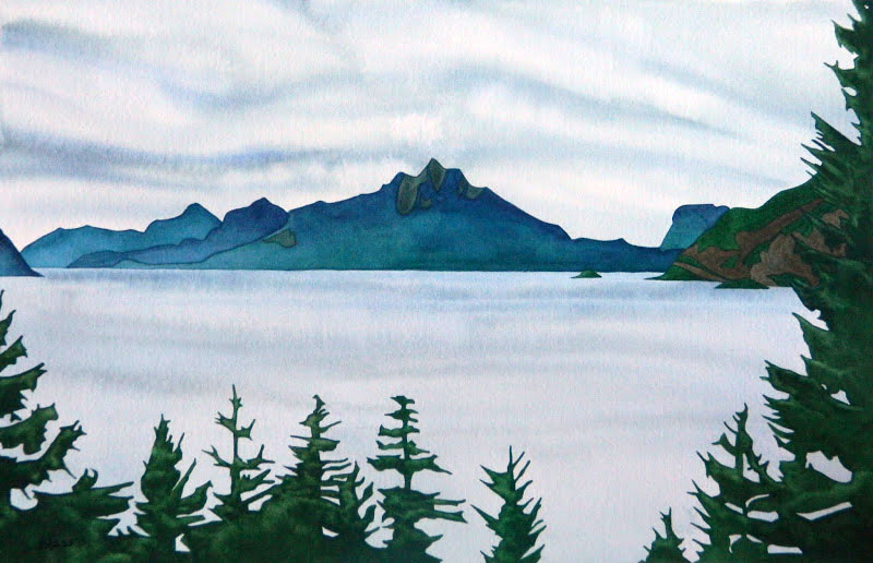 Mists Over Howe Sound, watercolour on paper, 14 x 21 in, 36 x 53 cm, $725. The grey days of the coast speak with their own quiet calmness...