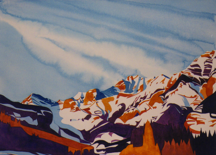 """Alpine Breeze"", watercolour on paper, 22x30""  $1800. SOLD"