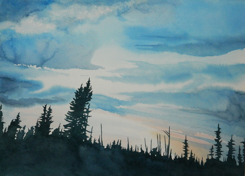 Twilight, watercolour on paper, 21 x 29 in, 53 x 74 cm, $1450. And the sky speaks volumes, if only we will stop and listen....
