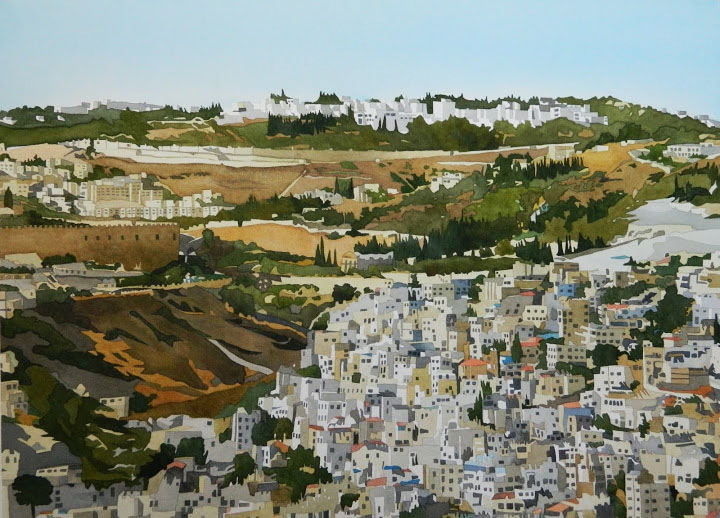 """Jerusalem Cityscape"", watercolour on paper, 21 x 29 in, 53 x 74 cm, Another vibrant place so full of meaning. Juxtaposing the old and the new.... $1800. (SOLD)"