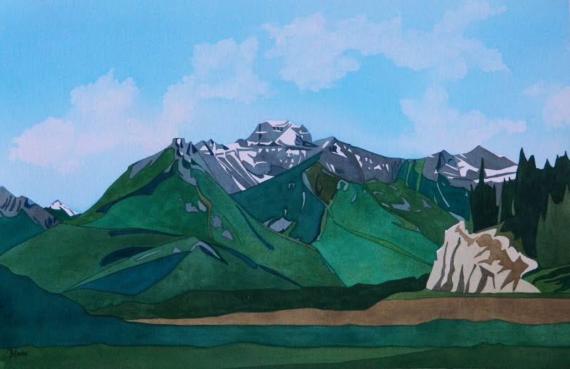 Green Day, watercolour on paper, 14 x 21 in, 36 x 53 cm, $725. A day in Kananaskis Park in the summer. Beautiful...