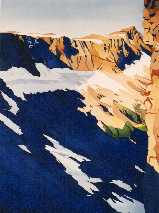 """The Cliffs"", (Beaufort Range, Vancouver Island), watercolour on paper, 30x22"", $3975."