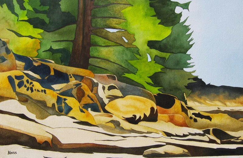 """Gabriola Shores"", watercolour on paper, 15x22"", $1985."