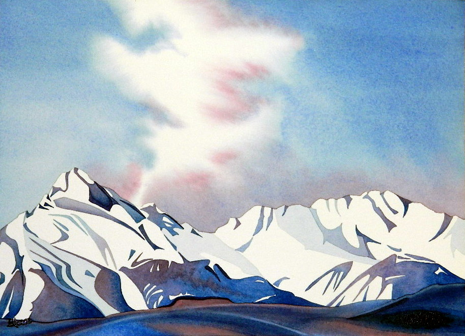 """Ice Sky"", watercolour on paper, 10 x 14 inches, 26 x 36cm, (SOLD)"
