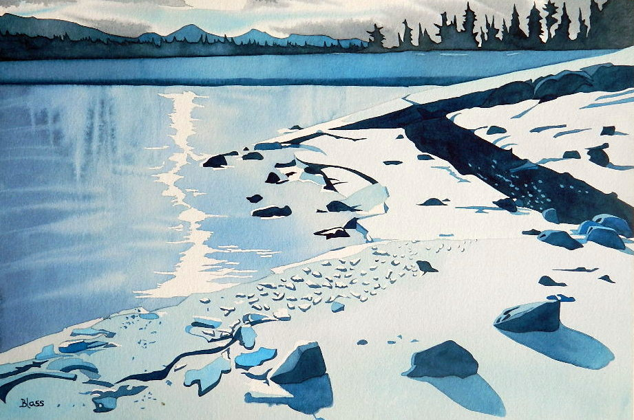 Frozen Minnewanka, watercolour on paper, 14 x 21 in, 36 x 53 cm, $725. Such special meaning for me... all wrapped up in love...