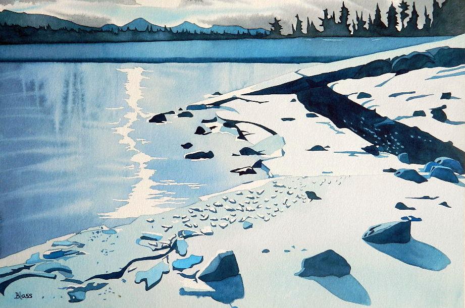 """""""Frozen Minnewanka"""", watercolour on paper, 15x22"""", $800. unframed, $1000 framed"""