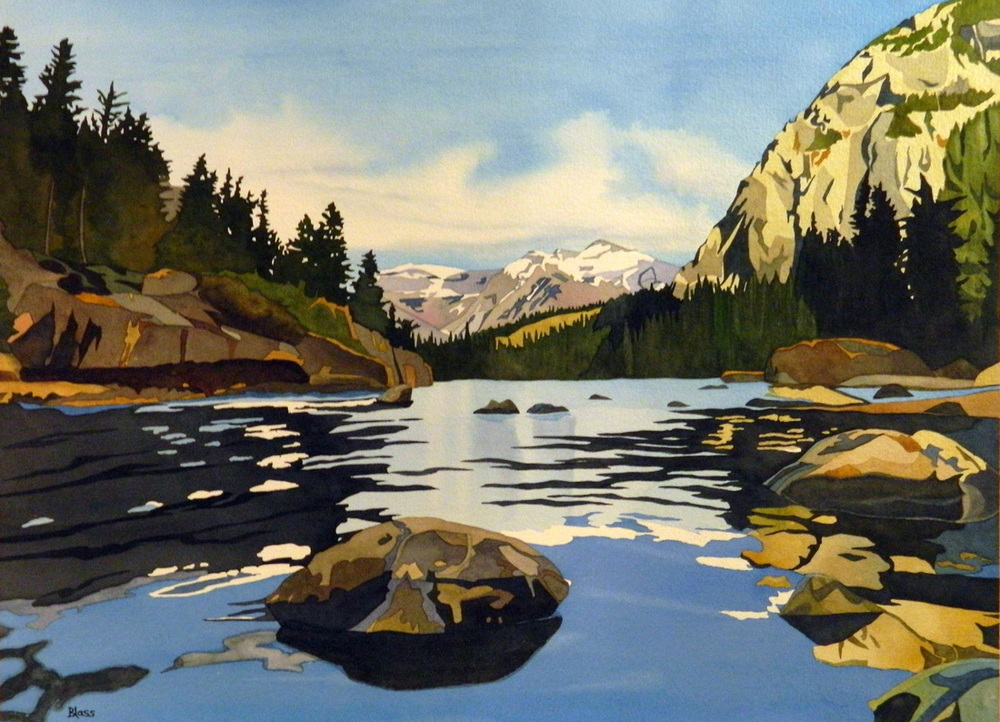 """Bow River, Banff National Park"", watercolour on paper, 21 x 29 in, 53 x 74 cm, Near Bow Falls... like a corridor to everything that is good. $1800. (SOLD)"