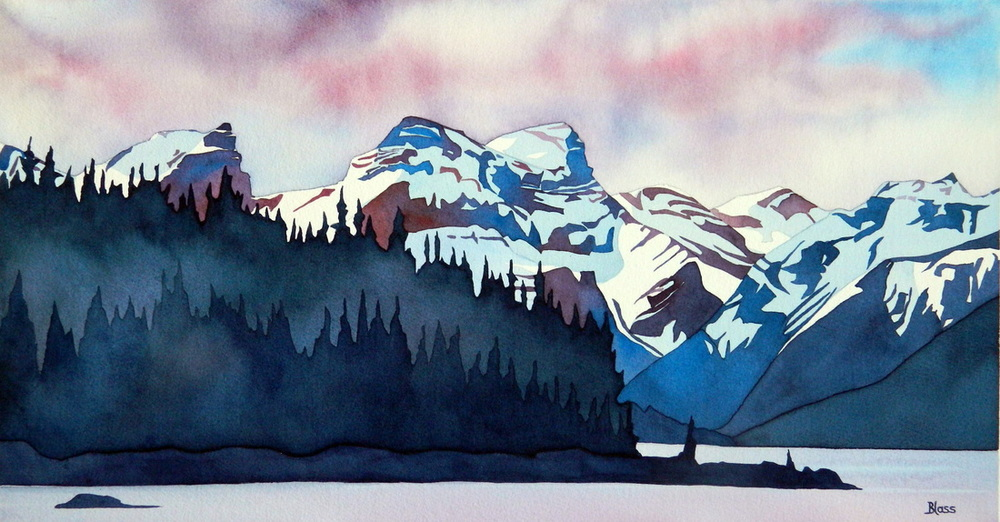 """Maligne Lake, Jasper National Park"", watercolour on paper, 11.5 x 22 inches, Indescribable beauty, though I have made an attempt to capture some of its grandeur. (SOLD)"