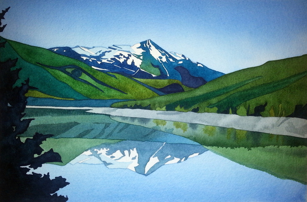 """Medicine Lake #2, Jasper Ntnl Park"", watercolour on paper, 7 x 10.5 inches. Perfect name for this place. Food for the soul.... (SOLD)"