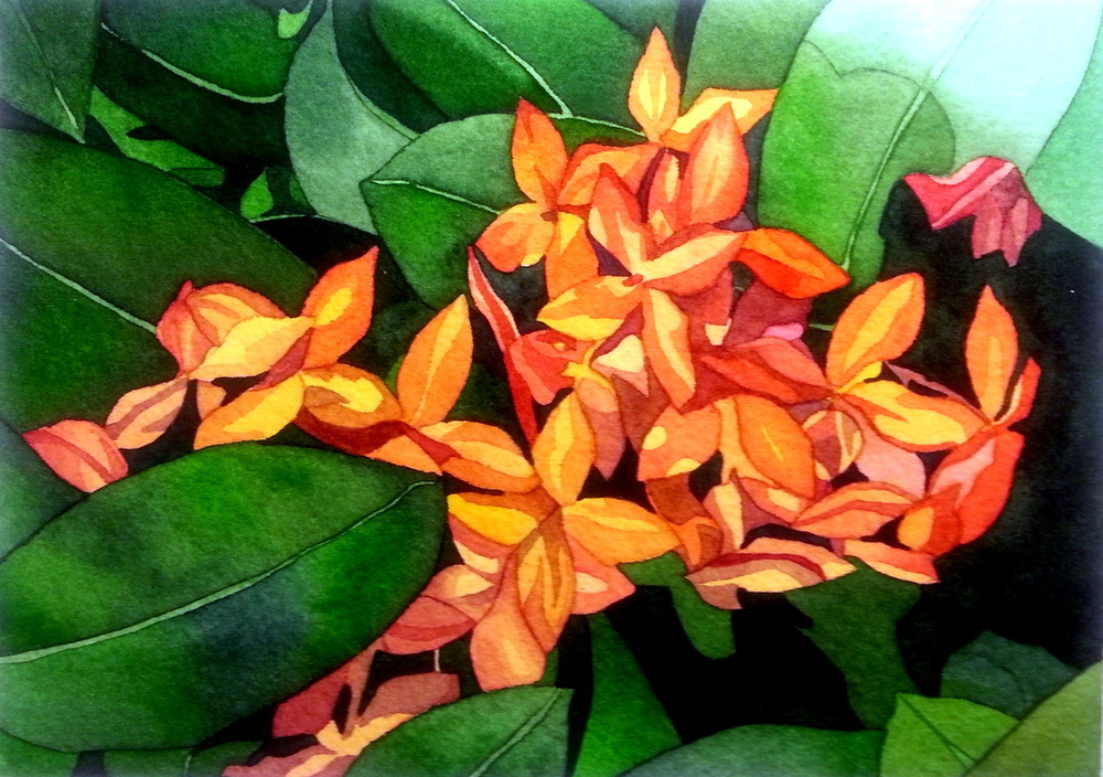 """Burst of Orange"", watercolour on paper, 5 x 7 inches, SOLD"