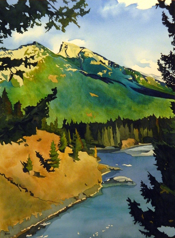 """""""Mt. Rundle in Fall"""", watercolour on paper, 30x22"""", $1725. unframed $1925. framed"""