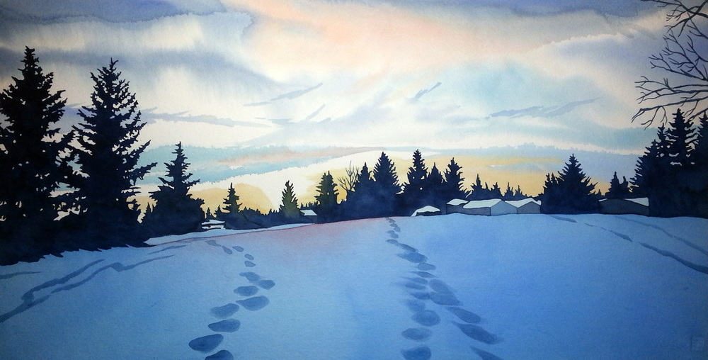 Winter Sunset, watercolour on paper, 16 x 30 inches, $1300. Even in the midst of chilly winter there is solitude and peacefulness.