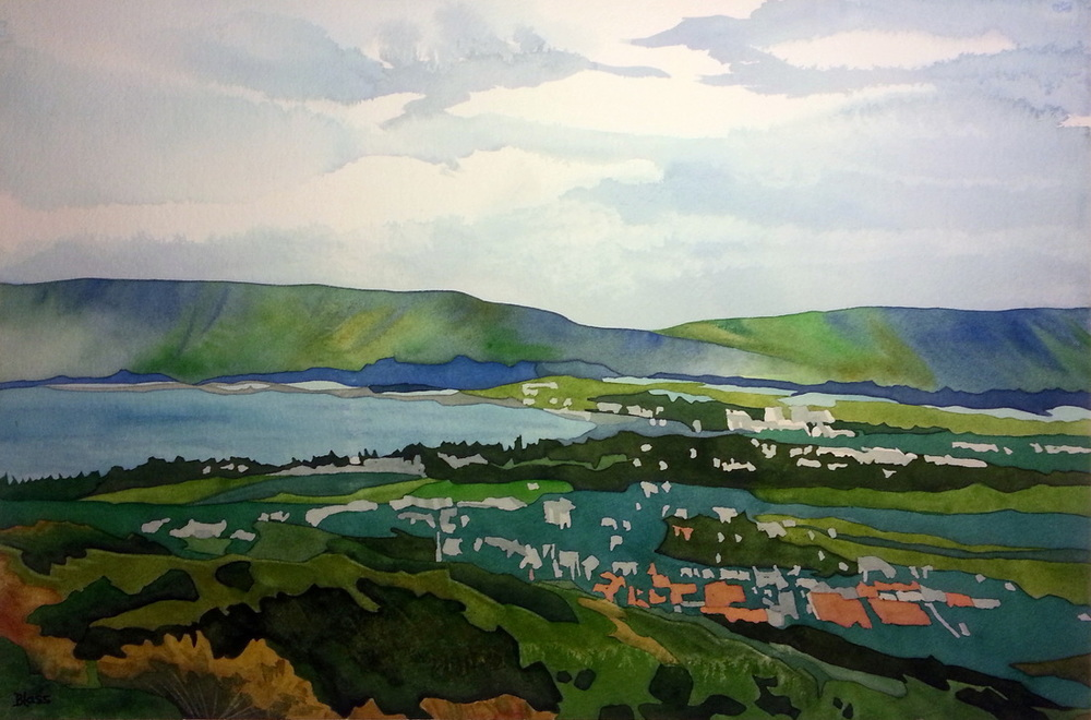 The Galilee, watercolour on paper, 14 x 21 inches, $725. Close to my heart on so many levels, it is a truly spiritual place.