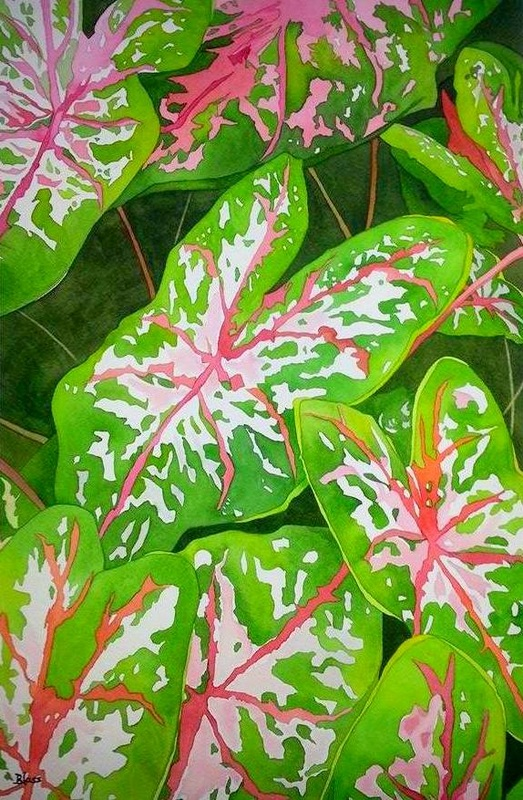 "Nature's Motif, watercolour on paper, 22x15"", $725."