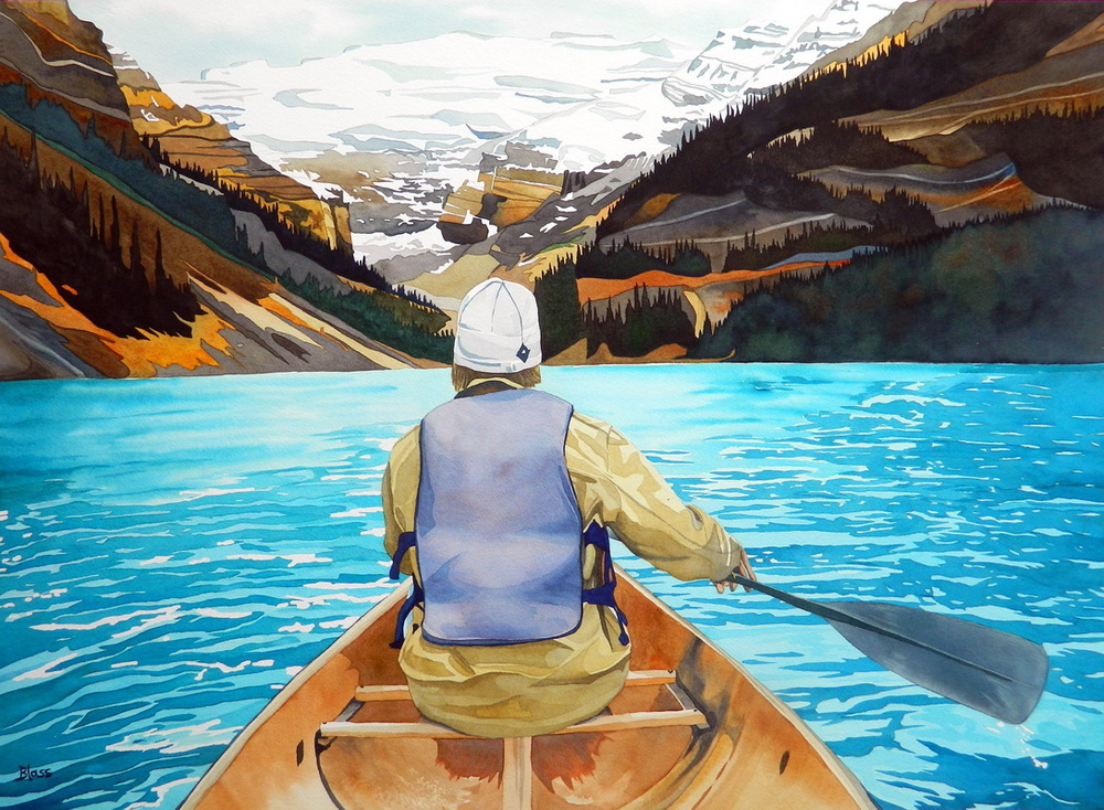 "Tranquility, Lake Louise. 22x30"", watercolour on Paper, (SOLD)"