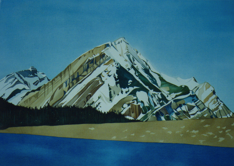 Bright Day Kananaskis Lakes, watercolour on paper, 21 x 29 in, 53 x 74 cm (NFS)