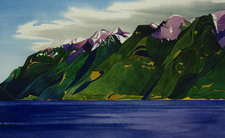 """Leaving Horseshoe Bay"", watercolour on paper, 14 x 21 in, 36 x 53 cm $1000. (SOLD)"