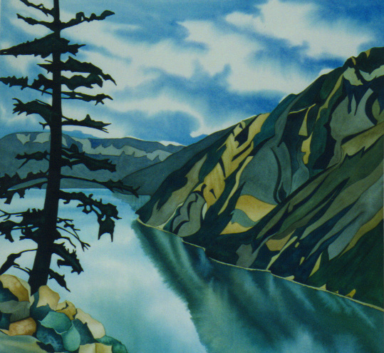 """High Point, Anderson Lake"", watercolour on paper, 22 x 21 in, 56 x 53 cm $1000. (SOLD)"