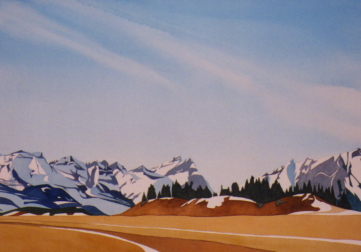 """Big Sky"", watercolour on paper, 21 x 29 in, 53 x 74 cm $1800. (SOLD)"