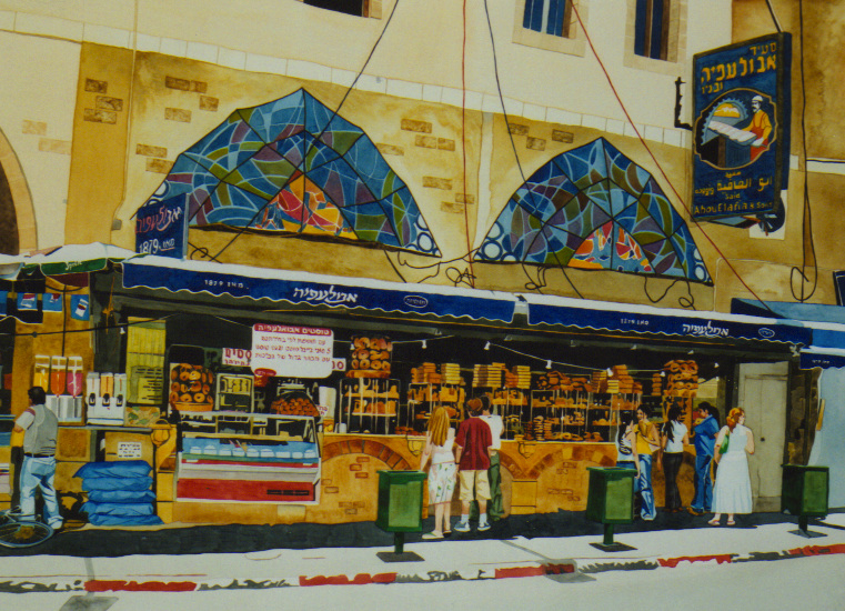 """Jaffa"", watercolour on rag board, 30 x 40 in, 76 x 102 cm  (SOLD)"