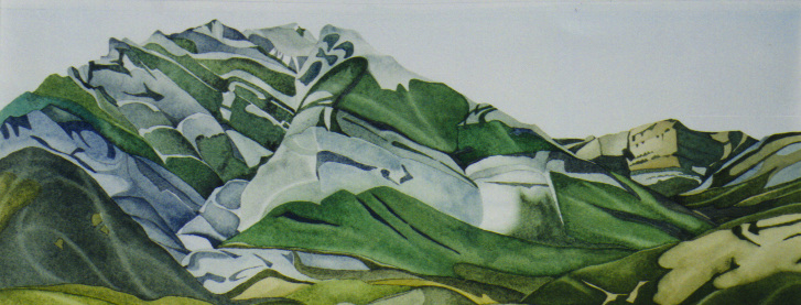 """Above Barrier Lake"", watercolour on paper, 9 x 21 in, 23 x 53 cm (SOLD)"