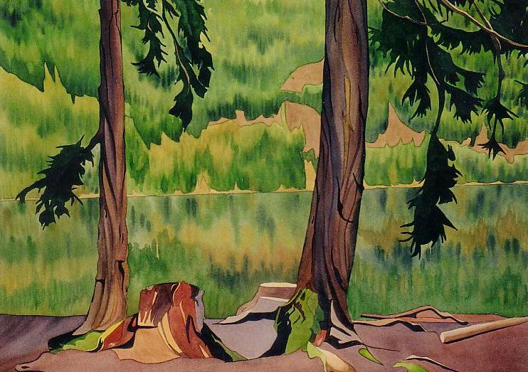 Cameron Lake, watercolour on paper, 21 x 29 in, 53 x 74 cm, SOLD