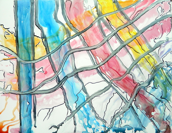 """Running Mondrian"", watercolour on Yupo paper, 20x26"" , $400."