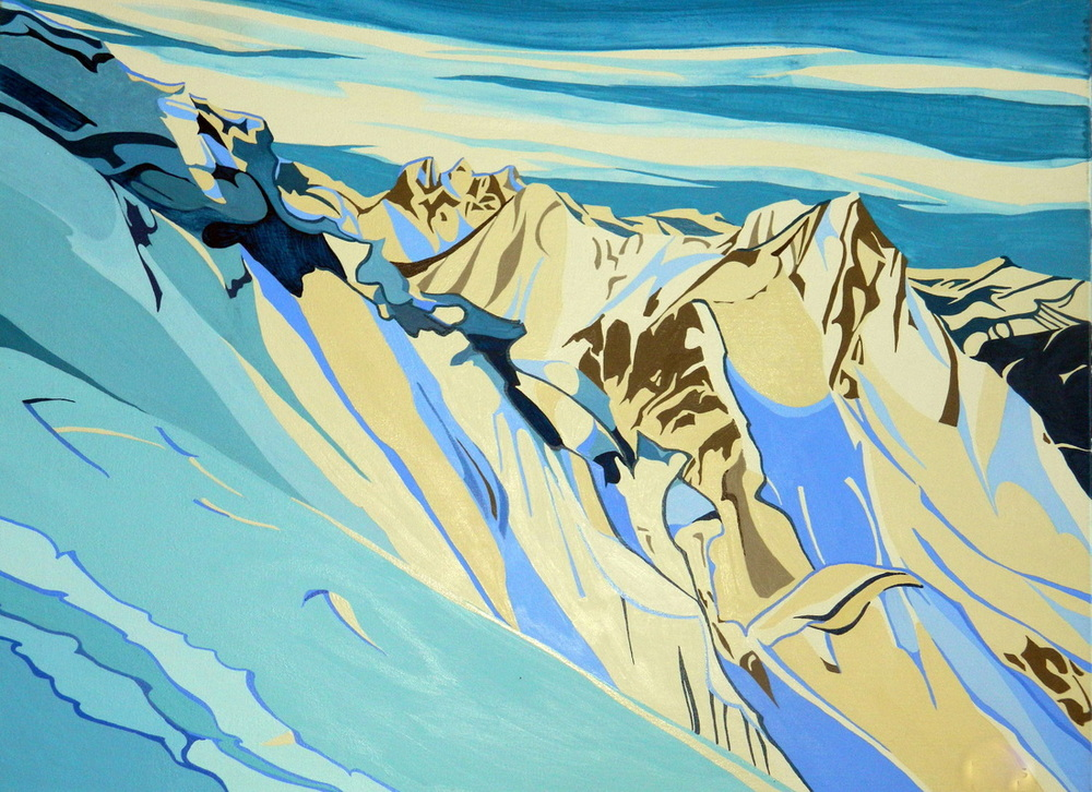 """Grizzly Peak (Fernie, BC), acrylic on canvas, 16 x 24"""", $600."""