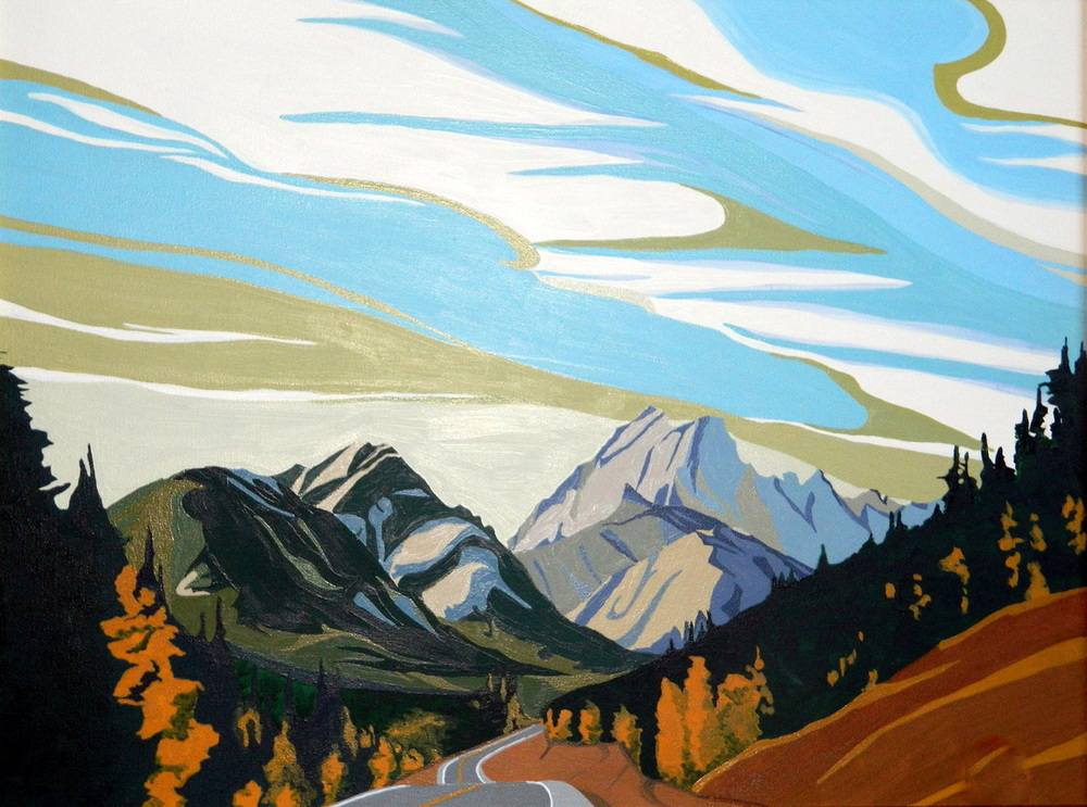 "Kananaskis Road, acrylic on canvas, 16 x 24"", $600."