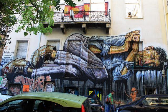 "Street Art... A genre of art that has existed since prehistory, finally gaining widespread acceptance and following. It is an art, and artist, that has been committed to speaking honestly, even while the artists identities were mostly unknown. (""No Land For The Poor"" Mural by WD. Athens, Greece)"