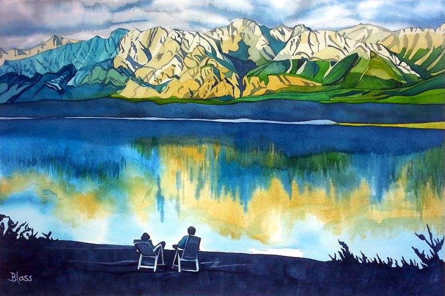 """Spray Lake Evening"" watercolour on paper, 15x22"" $1000. SOLD"
