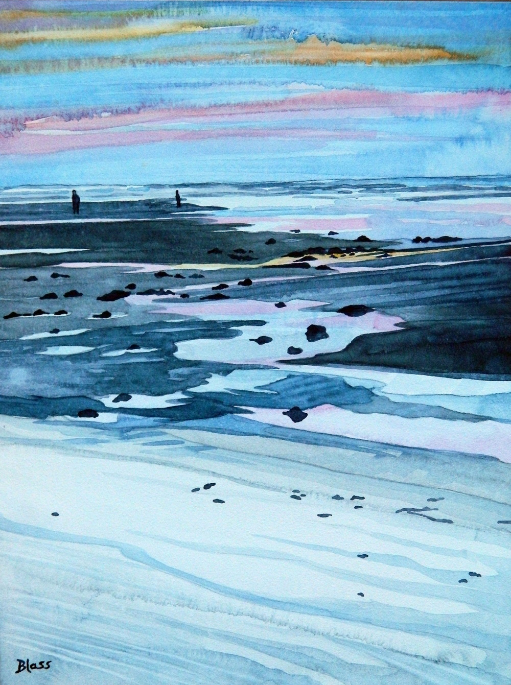 """Coastal Evening"" watercolour on clay panel, $250. SOLD"