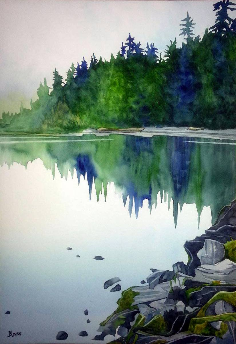 """Solitude"" Watercolour on rag board, 22x14""  $1000. SOLD"