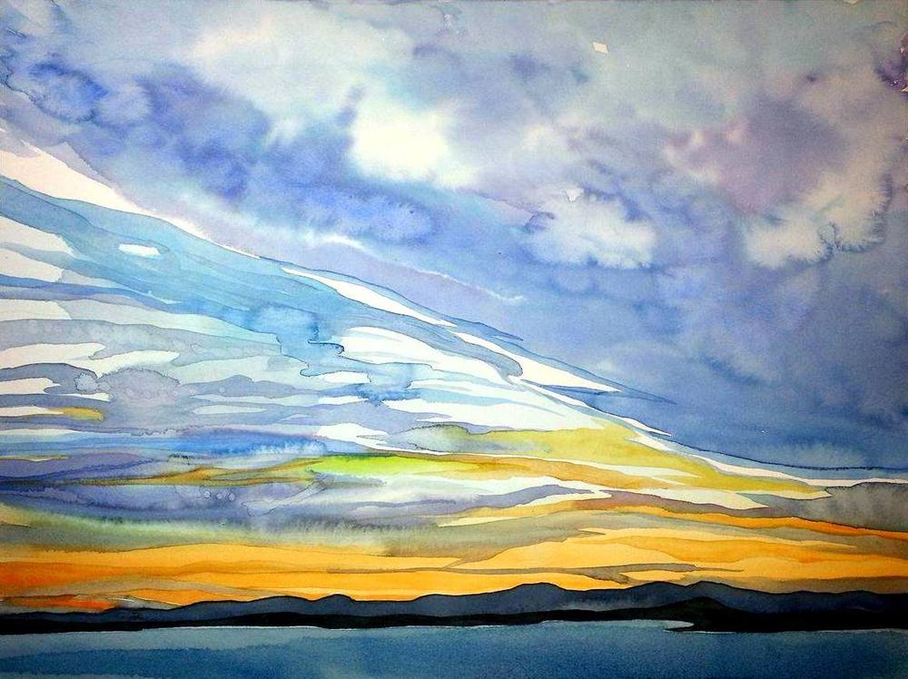 """Sunset Over the San Juan Islands"", watercolour on rag board, 15x20""  $1000. SOLD"
