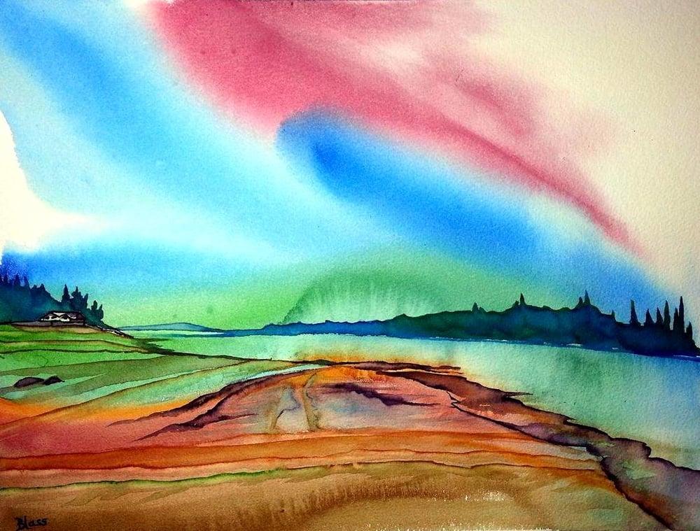 """""""Dancing Sky"""" (Gabriola Island, BC) 12x16"""" watercolour, $399. unframed $599. framed"""