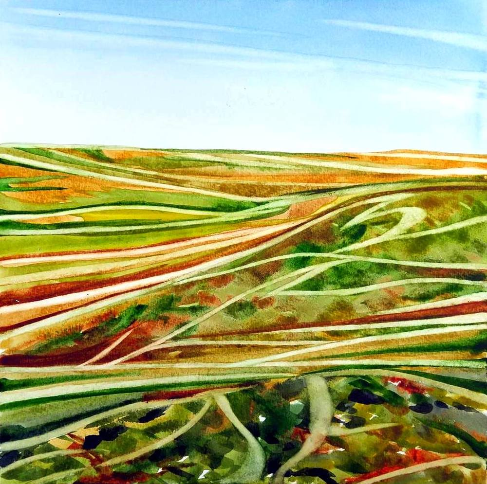 """Prairie Trails"", watercolour on board, 8x8"", $550.  SOLD"