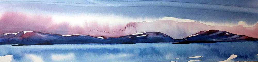 """Passage"", watercolour on board, 4x16"" $550.  SOLD"