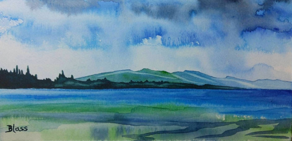 """Qualicum..."" watercolor on board, 4x8""   SOLD"