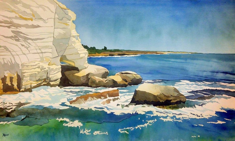 """Grottoes, Rosh HaNikra"", watercolour on board, 20x32"", $1800.  SOLD"