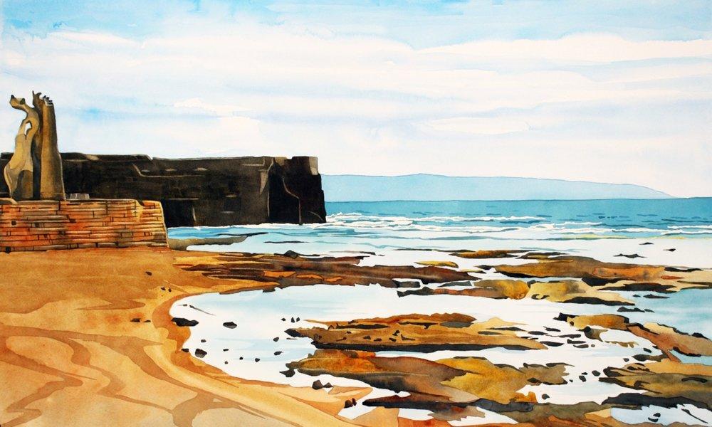 """""""Akko Beach (Echo Beach)"""" Watercolor on board, 20x32"""", $1600. unframed $1800. framed"""
