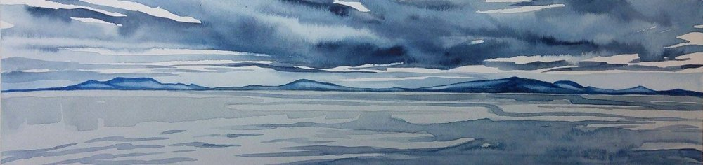 """Coastal Diary"", 4x16"", watercolour on board,  SOLD"