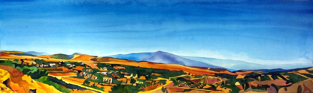 """Hula Valley"", watercolour on board, 12x40"", $1300. unframed"