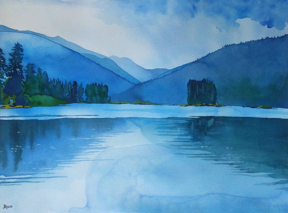 """Early Morning Thoughts"" watercolour on cotton paper, 22x30"", $3975."
