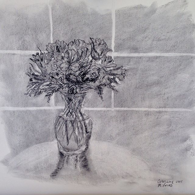 """Don't send me flowers when I'm dead. If you like me, send them while I'm alive."" —Brian Clough ⠀ ⠀ While cleaning out the studio, I came across this charcoal sketch from several years ago when a friend unexpectedly sent a luscious bouquet of flowers. I named the drawing ""Celebrate"" but no longer remember the occasion if there was one. Perhaps it was a ""just because"" type of occasion. ⠀ ⠀ Too often we wait for something to happen before reaching out to each other. Why not send flowers anytime? Or call. Or write. On paper, sealed with a stamp or a kiss. My daughter used to put on fresh lipstick and kiss the back of the envelope. I have one of her lip blottings on paper. I cherish it. ⠀ -⠀ -⠀ -⠀ -⠀ ⠀ #justbecause #sayitoutloud #sayitwithflowers #whywait #charcoalsketch #blackandwhite #celebratetoday #sketchbooks #artlovers #lifeisaprettyword #writeletters #notexting #bekind #sealedwithakiss"