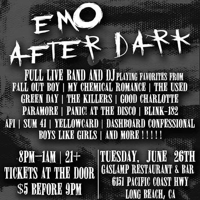 ➕The Warped Tour is coming to an end, but we're just getting started! EMO AFTER DARK is ramping up our first event with a full live band & DJ playing the hits we all still listen to. Come and spend the night singing along to all the saddest songs with us! Follow @emoafterdark for all the info!! . . . . . #emoafterdark #emonight #emoevent #blink182 #mychemicalromance #paramore #thirtysecondstomars #jimmyeatworld #falloutboy #goodcharlotte #emonitela #theused #simpleplan #panicatthedisco #boyslikegirls #sum41 #hawthorneheights #thekillers #emonite #allamericanrejects #bowlingforsoup #underoath #metrostation #takingbacksunday #newfoundglory #alkalinetrio #americanhifi