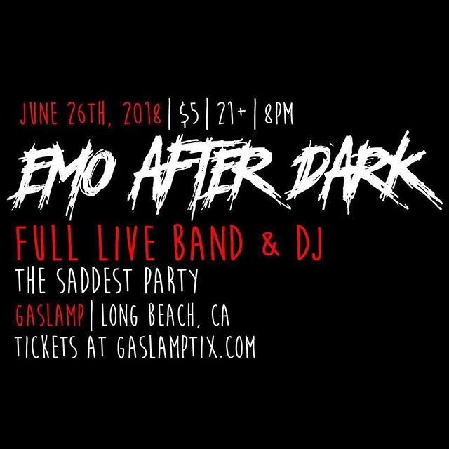 Only two more days till @mikehillbass and crew are going to be rockin' the @gaslamplbc with his new event @emoafterdark  So get your eyeliner ready and come sing along to all your favorite sad songs. 🖤🎶💀🤟🏻💀🎶🖤 #emoafterdark #emo #music #dj #coverband #emomusic #emolive #emoevent #panicatthedisco #mychemicalromance #paramore #30secondstomars #hawthorneheights #gaslamp #longbeach #southerncalifornia #emonight