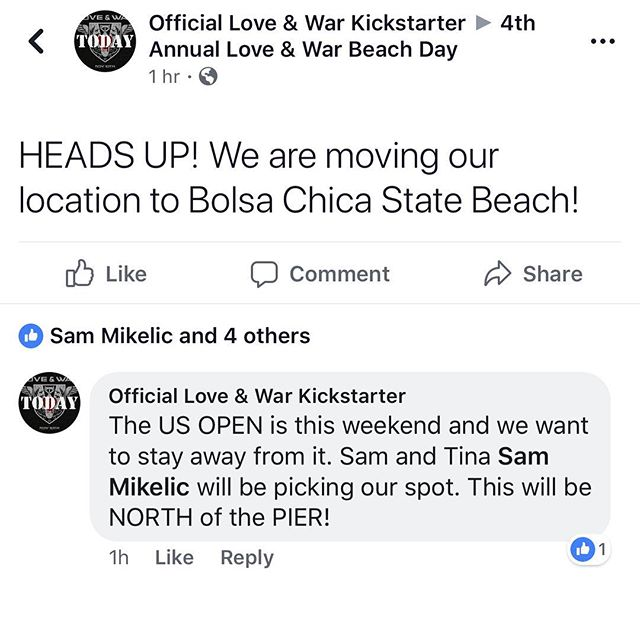 ‼️ HEADS UP ‼️ 🔻LOCATION CHANGE🔻  Due to the #USOPEN happening that weekend at #Huntington we are moving the shenanigans to #BolsaChicaStateBeach !!!!! Keep an eye on the Facebook event page for updates. And remember we have a potluck signup sheet on the page! We can't wait to see you all there! 💀🖤🤟🏻🌴☀️🏖 #loveandwar #annualbeachday #changeoflocation #southerncalifornia #beach #socal #funinthesun
